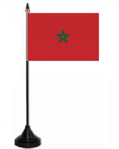 Morocco Desk / Table Flag with plastic stand and base.
